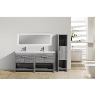 Moreno Bath MOL 63 Inch Free Standing Modern Bathroom Vanity With Reinforced Acrylic Double Sink