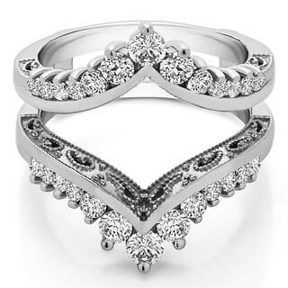 14k Gold 1ct TDW Diamond Filigree Vintage Wedding Ring Guard