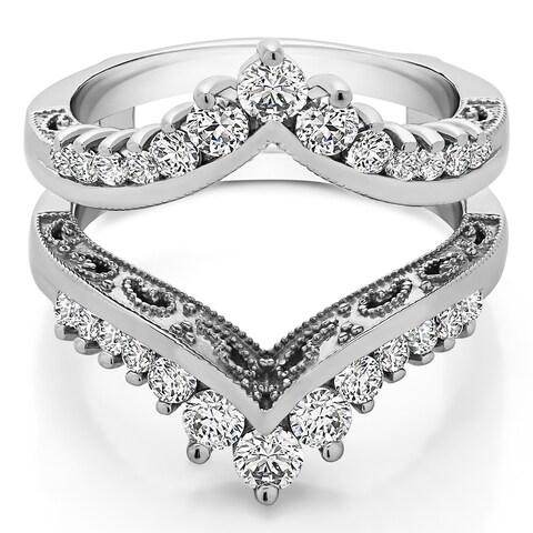 TwoBirch Sterling Silver 1ct TGW Cubic zirconia Filigree Vintage Wedding Ring Guard