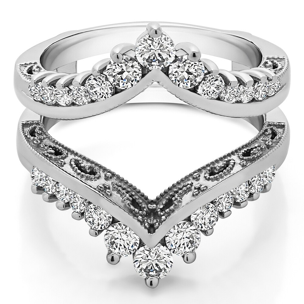 TwoBirch Stackable 2.1 mm White Cubic Zirconia Set in Sterling Silver Double Shared Prong Eternity Ring