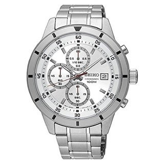 Seiko SKS573 Men's Silver Dial Stainless Steel Chronograph with Date