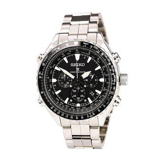 Seiko SSG001 Men's Prospex Radio Sync Solar Black Dial Power Reserve Chronograph Watch