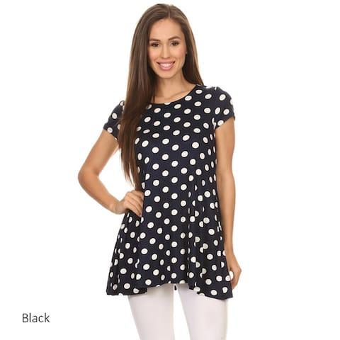 Women's Polka Dot Short Sleeve Tunic
