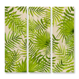Benjamin Parker 'In the Tropics' 47-inch Triptych Hand-painted Wood Wall Art
