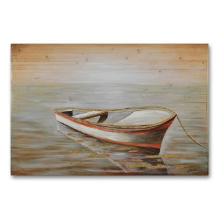 Benjamin Parker 'Lonely Boat' Hand-painted Wall Art