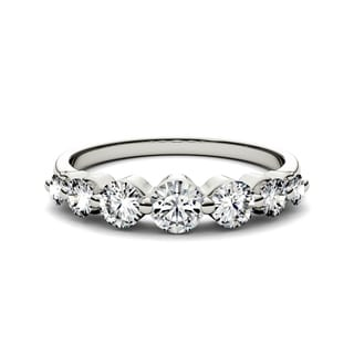 Charles & Colvard 14k White Gold 9/10ct DEW Forever Brilliant Round Moissanite Seven Stone Band