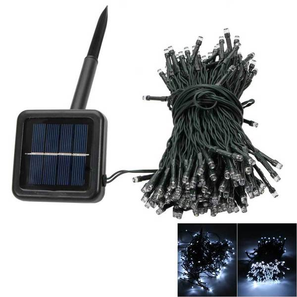 200 led white light outdoor waterproof christmas decoration solar power string light - Solar Powered Outdoor Christmas Decorations