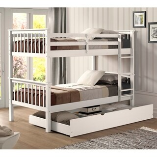 White Wood Twin Bunk Bed and Trundle Set