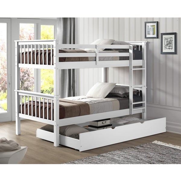 0fea97b1aed7 Taylor  amp  Olive Como Solid Wood Twin Bunk Bed with Trundle Bed - White