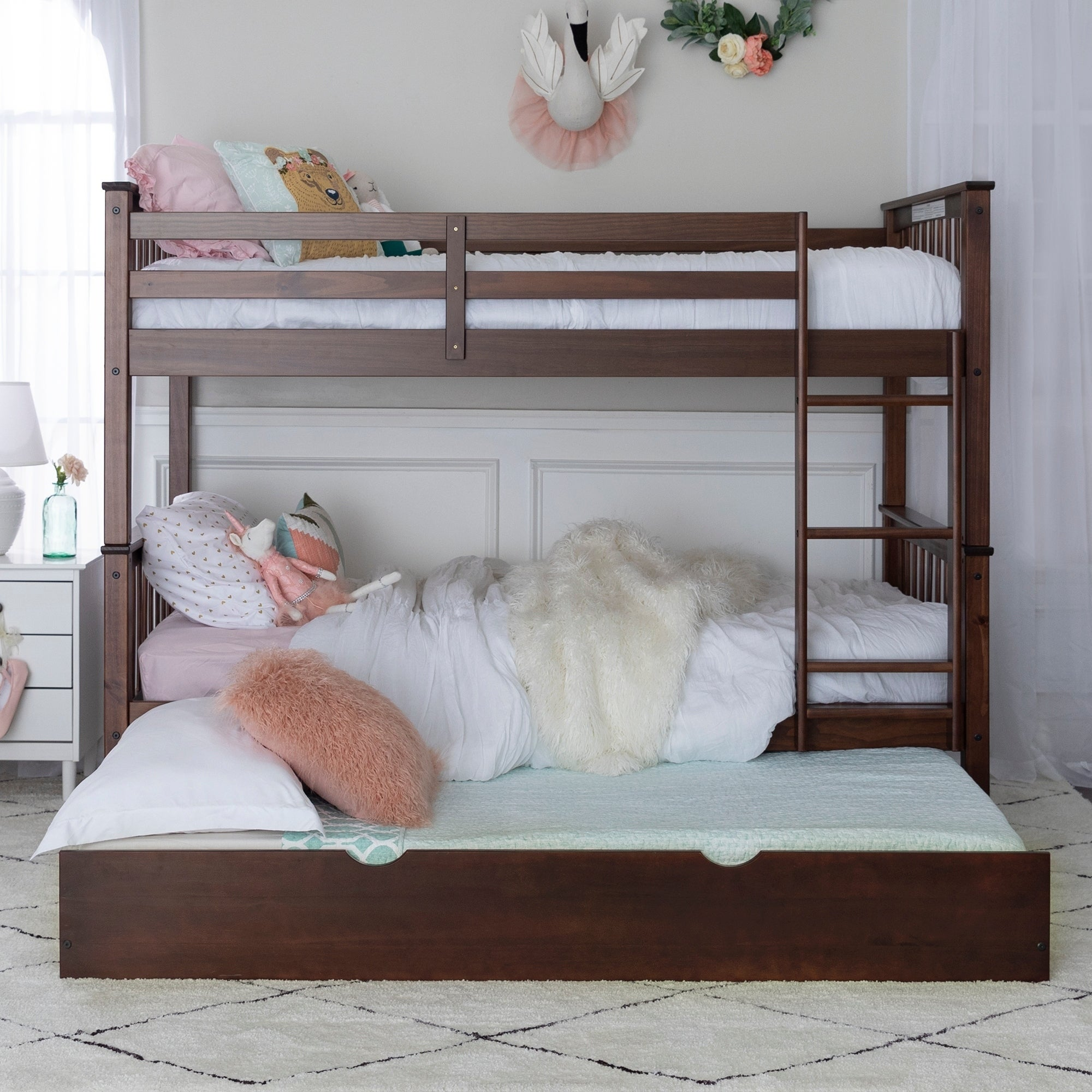 Solid Wood Twin Bunk Bed With Trundle Bed   Grey