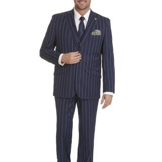 Stacy Adams Men's Blue Striped 3-piece Suit