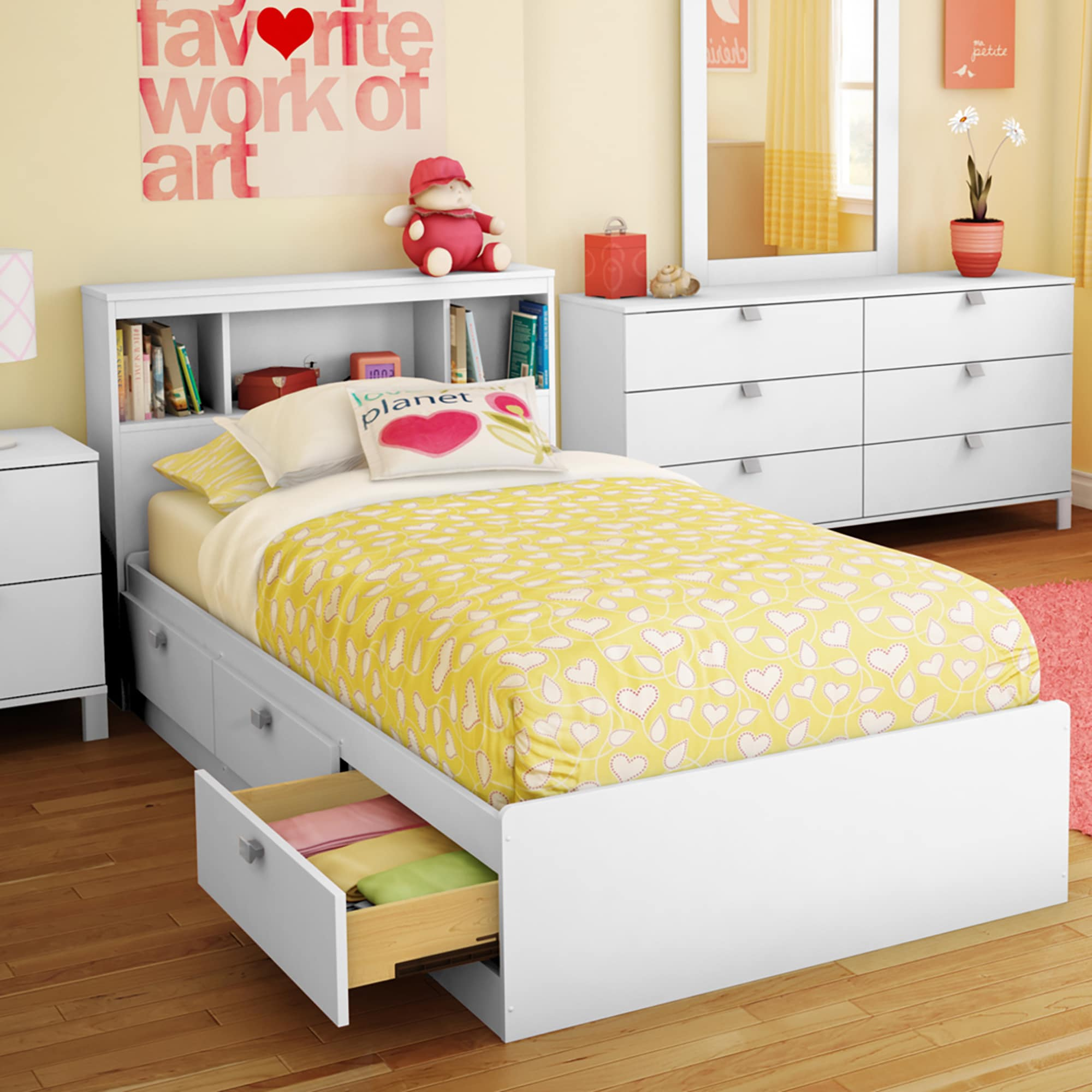 South Shore Spark Twin Storage Bed and Bookcase Headboard...