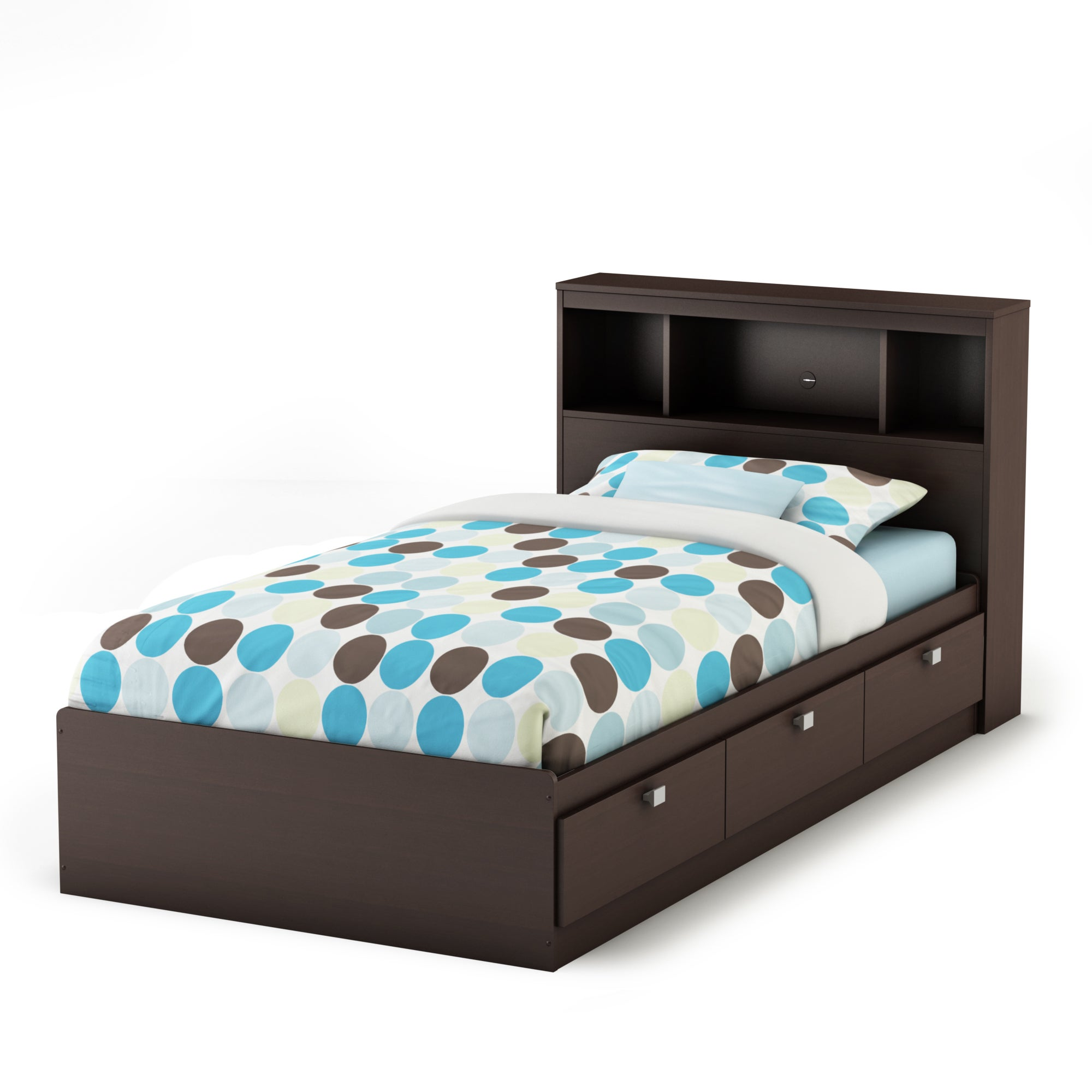 South Shore Spark Twin Storage Bed And Bookcase Headboard Overstock 14792160