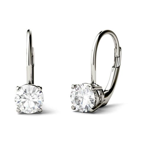 Moissanite by Charles & Colvard 14k Gold 1.00 TGW Round Leverback Drop Earrings