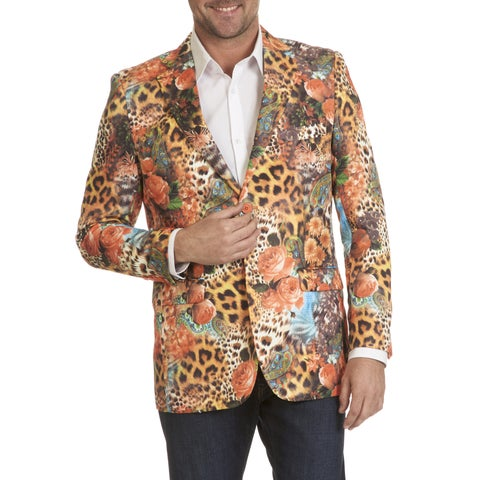 Blu Martini Men's Floral Animal Print Sports Coat