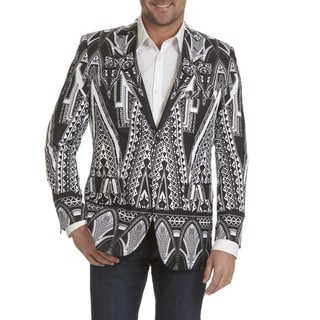 Blu Martini Men's Black/White Geo Print Sports Coat (Option: S)