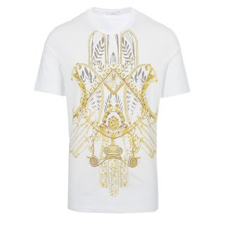 Versace Collection White Gold Hemsa Print T-shirt