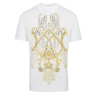Versace Collection White Gold Hemsa Print T-shirt