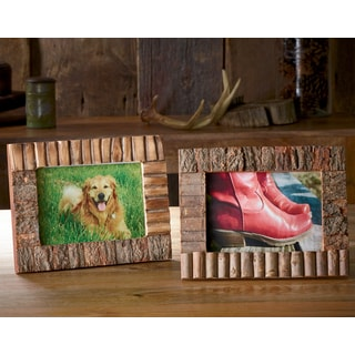 "Set of 2 Rustic Wood and Bark 5x7"" Frames"