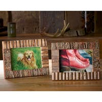 "Set of 2 Rustic Wood and Bark 5x7"" Frames"