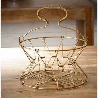 Gilded Collapsible Iron Wire Basket