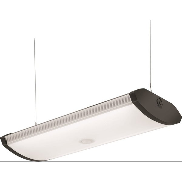 Lithonia Lighting 2 Foot Black Indoor Led Garage Light With Integrated Motion Sensor