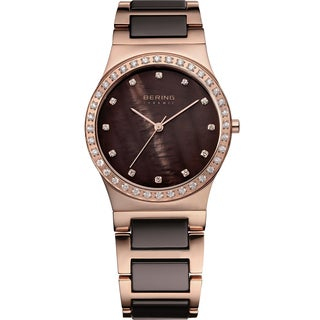 Bering Women's Ceramic Quartz Crystal Rose Gold Stainless Steel Watch 32435-765