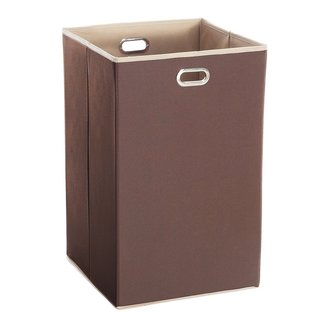 StorageManiac Folding Laundry Hamper with Built-in Grommet Handles, 14 x 14 x 23 Inch, Coffee