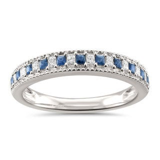 Montebello Jewelry 14k White Gold 1/3ct TGW White Diamond and Blue Sapphire Wedding Band