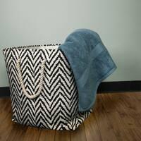 Black and White Fabric Rectangular 3-piece Rope Handle Basket Set