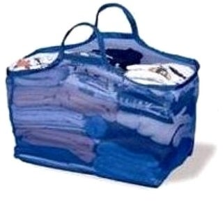 Bajer Design Blue Mesh Laundry Tote Bag