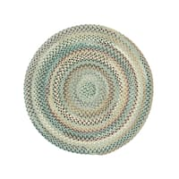 Pyle Round Made to Order Braided Rug Light Blue (36-inch)