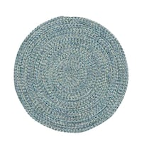 Malibu Round Made to Order Braided Rug Blue (36-inch)