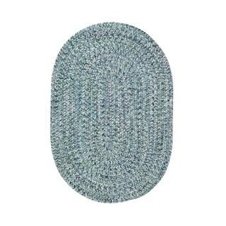 Malibu Oval Made to Order Braided Rug Blue (20 x 30)