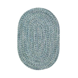 Malibu Oval Made to Order Braided Rug Blue (3' x 5')