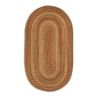 Cambridge Oval Made to Order Braided Rug Gold/Mixed (5' x 8')
