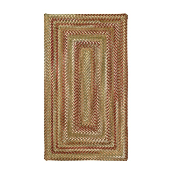 Cambridge Concentric Rectangle Made to Order Braided Rug Sage/Red - 20 x 30