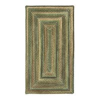 Amaliea Concentric Rectangle Made to Order Braided Rug Green