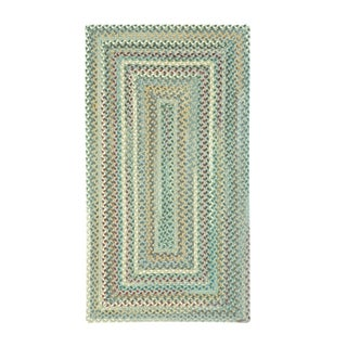 Pyle Concentric Rectangle Made to Order Braided Rug Light Blue (3' x 3')