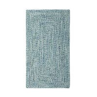 Malibu Concentric Rectangle Made to Order Braided Rug Blue (3' x 5')