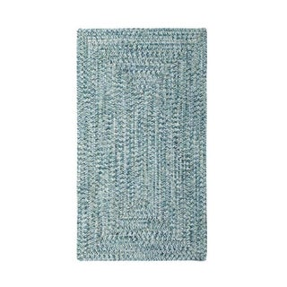 Malibu Concentric Rectangle Made to Order Braided Rug Blue (5' x 8')