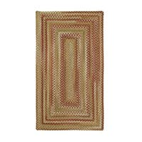 Cambridge Concentric Rectangle Made to Order Braided Rug Sage/Red