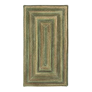 Amaliea Concentric Rectangle Made to Order Braided Rug Green (7' x 9')