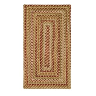Cambridge Concentric Rectangle Made to Order Braided Rug Gold/Mixed (7' 6 x 7' 6)
