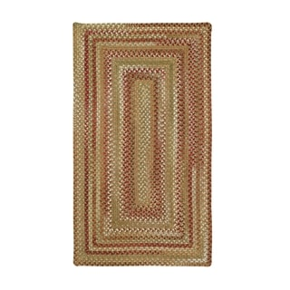Cambridge Concentric Rectangle Made to Order Braided Rug Sage/Red (7' 6 x 7' 6)