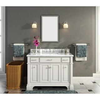 """Nova 48"""" Single Sink Marble Top Vanity with Backsplash"""