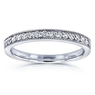 Annello by Kobelli 14k White Gold 1/6ct TDW Diamond Pave-set Womens Wedding Band