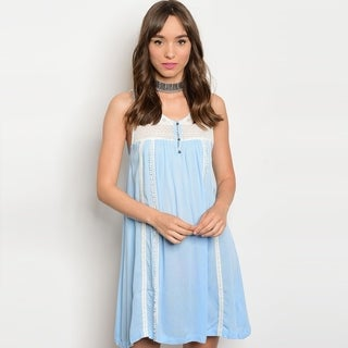 Shop The Trends Women's Sleeveless Tunic Dress With Allover Lace Details And V-Neckline