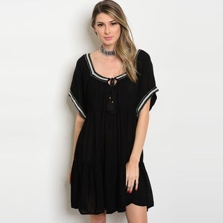 Shop The Trends Women's Short Flutter Sleeve Tunic Dress With Tribal Trim Tassel Yolk And Scoop Neckline