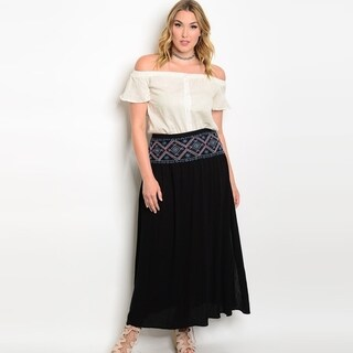 Shop The Trends Women's Plus Size High Waisted Maxi Skirt With Full Lining And Embroidered Detail On Waist